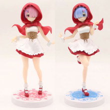 Anime japonés figura Re: La vida en un mundo diferente de cero Ram/Rem sombrero rojo figura de acción figura coleccionable modelo juguete para regalo