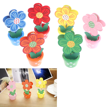 Lovely Creative Little Flower Hood Wooden Crafts Memo Clamp Photo Clip Note Holder For Office Study Room Decoration For Paper image