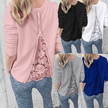 Autumn New Fashion Womens O-Neck Long Sleeve Lace Patchwork