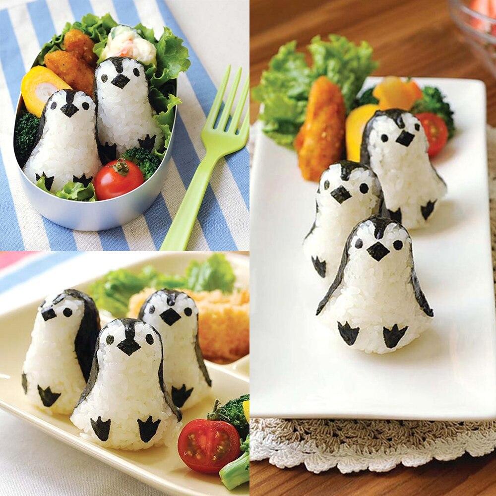 NICEYARD Penguin Sushi Maker Mold Sushi Nori Punch Pad Пластиковая форма для рисовых шариков 1 Набор инструментов для приготовления пищи Bento Tool-2