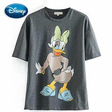 Disney Fashion Korea Daisy Duck Cartoon Print T-Shirt O-Neck Pullover Short Sleeve Casual Sweet Women T-Shirt Tee Tops(China)