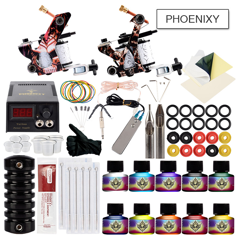 Professional Tattoo Kits Tattoo Machine Set 2 Tattoo Machine Guns 10 Colors Ink Set LCD Black Power Units Body Art Tattoo Set