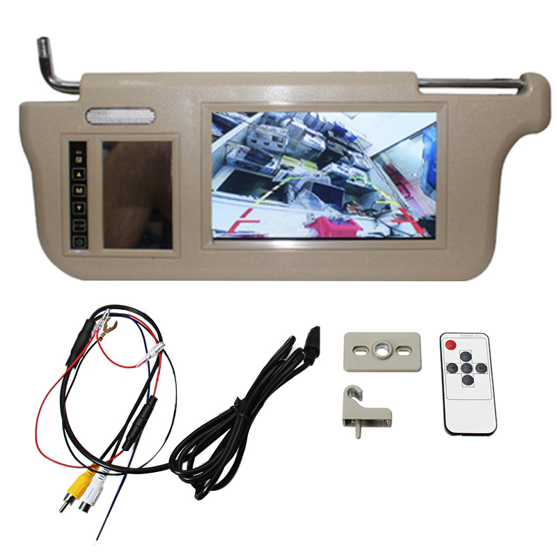 7 Inch Car Sun Visor Mirror Screen LCD Monitor DC 12V Beige Interior Mirror Screen Left Side for AV1 AV2 Player Camera