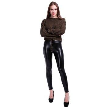 SALSPOR 5XL Plus Size Women Winter Velet Trousers Femme Black Warm Leather Nine pants Ladies Sexy High Waist Slim PU Leggins 4