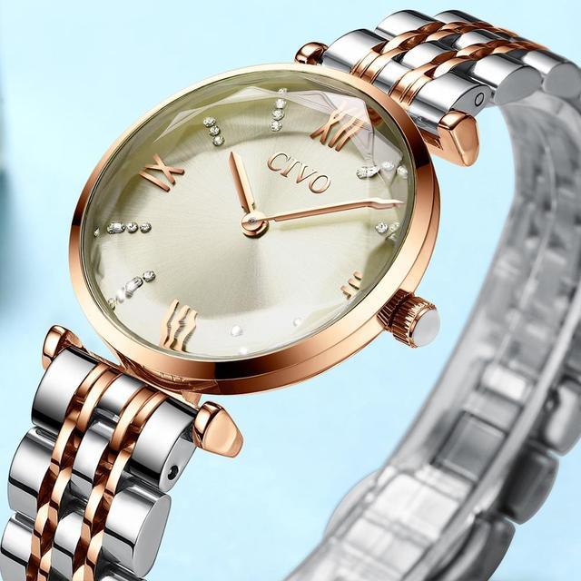 CIVO 2020 mode luxe dames montres bracelets haut de gamme en or Rose Bracelet en acier étanche femmes Bracelet montre Zegarek Damski
