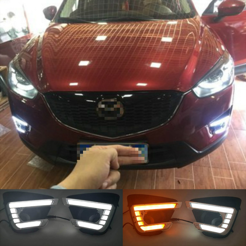 1Pair DRL <font><b>For</b></font> <font><b>Mazda</b></font> <font><b>cx</b></font>-<font><b>5</b></font> cx5 <font><b>2012</b></font> 2013 2014 2015 <font><b>2016</b></font> led daytime running light turn signal yellow 12V fog lamp image