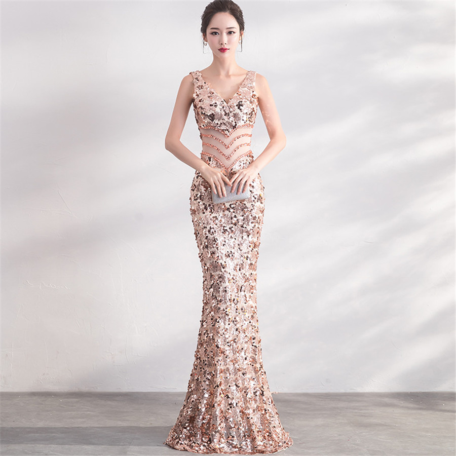 Evening     Dress   V-neck Sequin   Evening     Dresses   for Women Floor Length Robe De Soiree Sleeveless Memarid   Evening   Gown 2019 F240