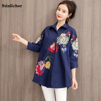 Plus size 2020 Floral Embroidered Blouse Shirt Women Cotton Loose White Tops Chemisier Long Sleeve Blouses Woman Office Shirts plus size arab embroidered open front blouse