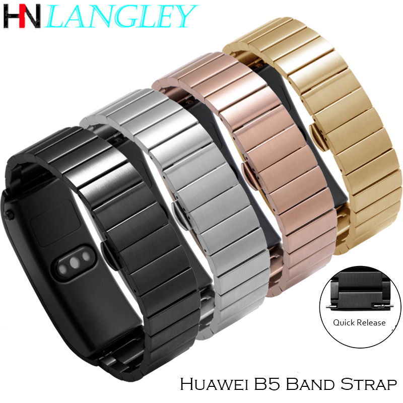 16mm 18mm Watch Band For Huawei B5 B3 Bracelet Strap Stainless Steel Replacement Wristband Men Women B3 B5 Bracelet Accessories