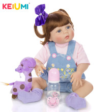 KEIUMI New Cute 22'' Reborn Baby Doll 55 cm Full Silicone Body Newborn Girl Baby Doll Toy Boneca Reborn Christmas Gifts Present(China)