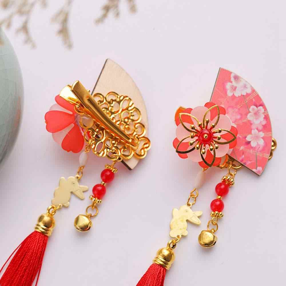 Legno D'epoca in Stile Cinese Fan Nappa Clip di Capelli Spille Kimono Copricapo Costume Cosplay Dei Capelli Dei Bambini Spille Accessori per Capelli