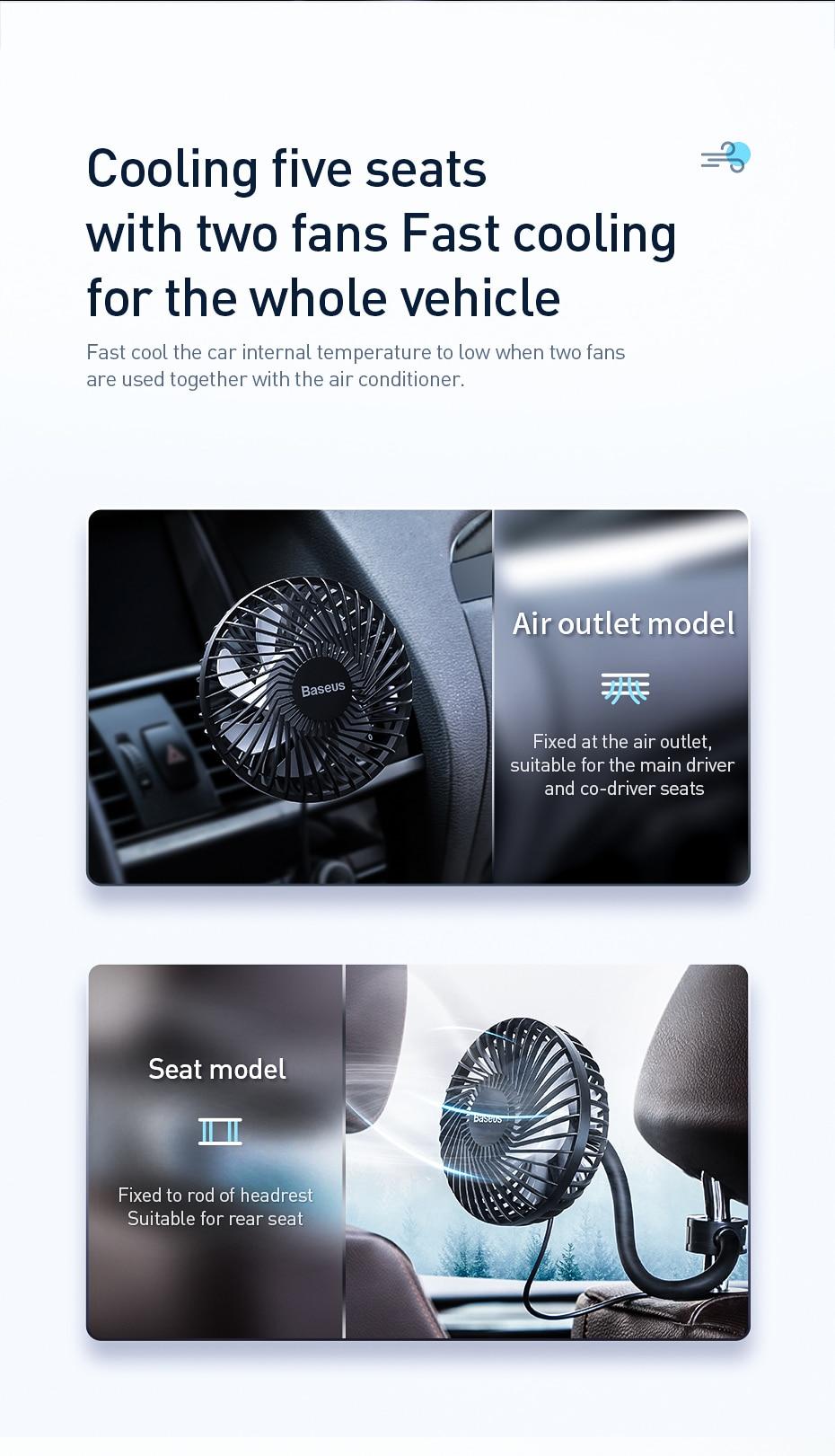 Baseus Air Vent Mounted USB Fan 3 Speed Air Cooling Fan For Car Air 2
