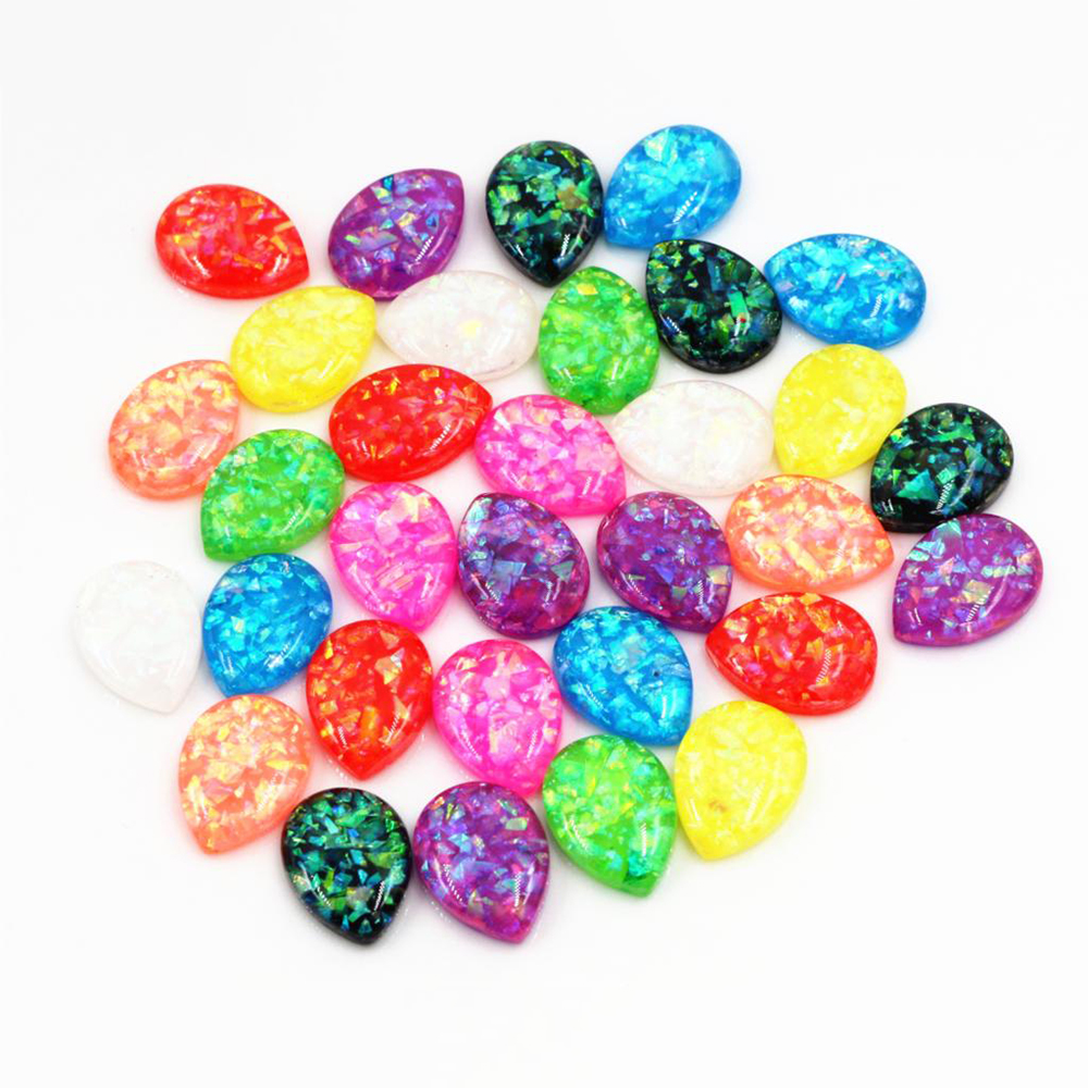 13x18mm Drop Size  40pcs/Lot New Fashion Drop Style Mix Color Built-in Metal Foil Flat Back Resin Cabochons Cameo V5-22