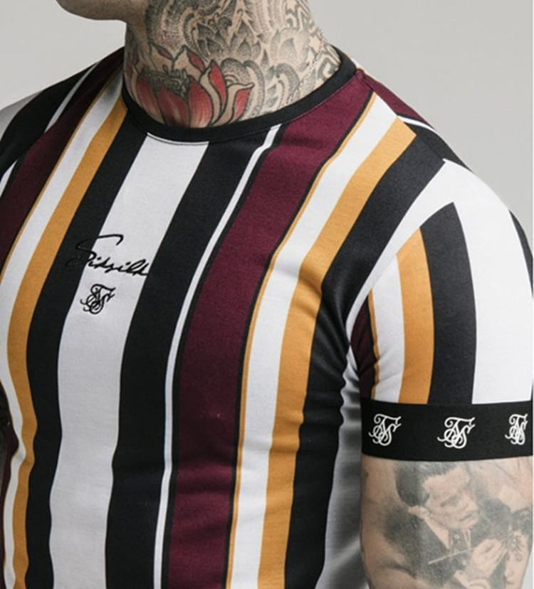 2019 Hip Hop tight TShirt Short Sleeve High quality Brand Men muscle stripe bodybuilding fitness men tops polyester singlets