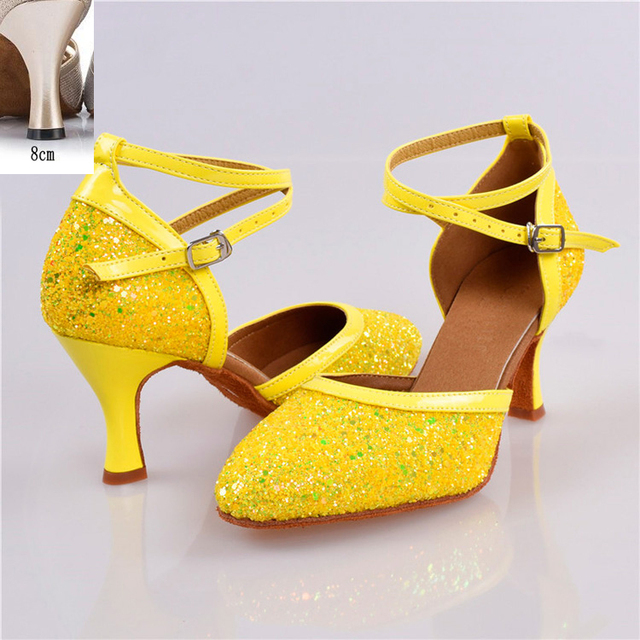 Silver PU Women/'s Latin Dance Shoes Female High-heeled Ballroom Salsa Tango Shoe