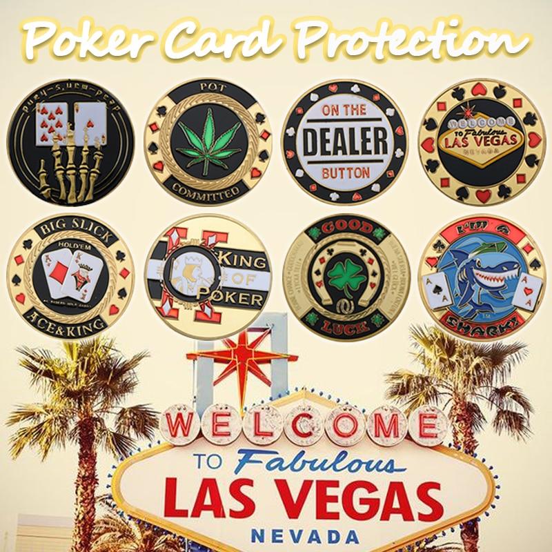 Металлическая карточка для покера, защита для покерных карт, металлические сувенирные фишки, казино, дилер, монета, покер, игра, Holdem, аксессу...