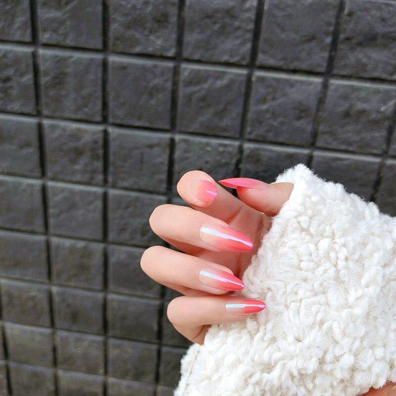 24 pcs estilo longo fresco simples persistente wearable unhas falsas com cola cor rosa aurora gradiente