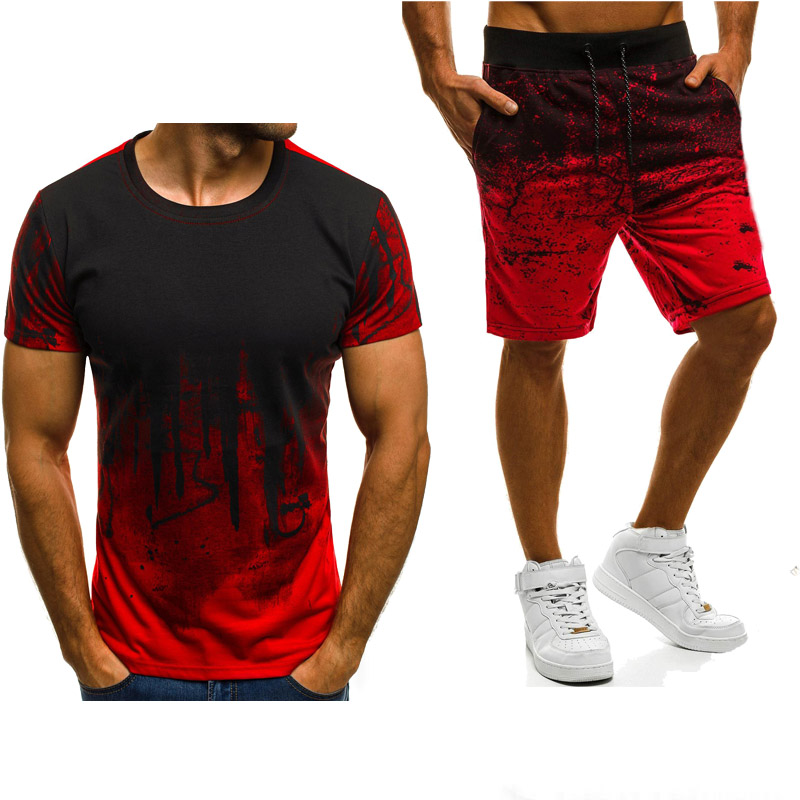New-2020-Summer-Men-s-short-sleeve-Gradient-Casual-Fashion-Simple-atmosphere-Cotton-Crew-neck-T