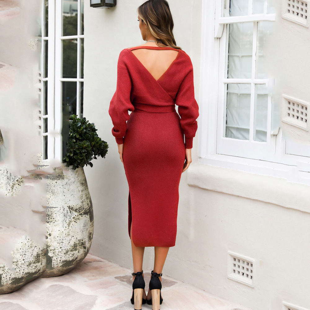 Long Sleeve V Neck With Cross Belt Sweater Knitted Dress 17