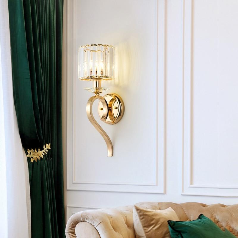 Jmzm Vivenda de Luxo de Cristal de Ouro Lâmpada de Parede País da América Luz Estudo Corredor Corredor Sala de estar Do Hotel Interior luminárias