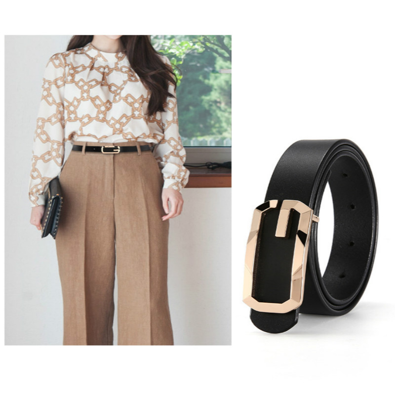 New Women Fashion Genuine Leather Belts Luxury Design High Quality Leisure Belt Jeans Waistband Female Top Quality Ceinture G259