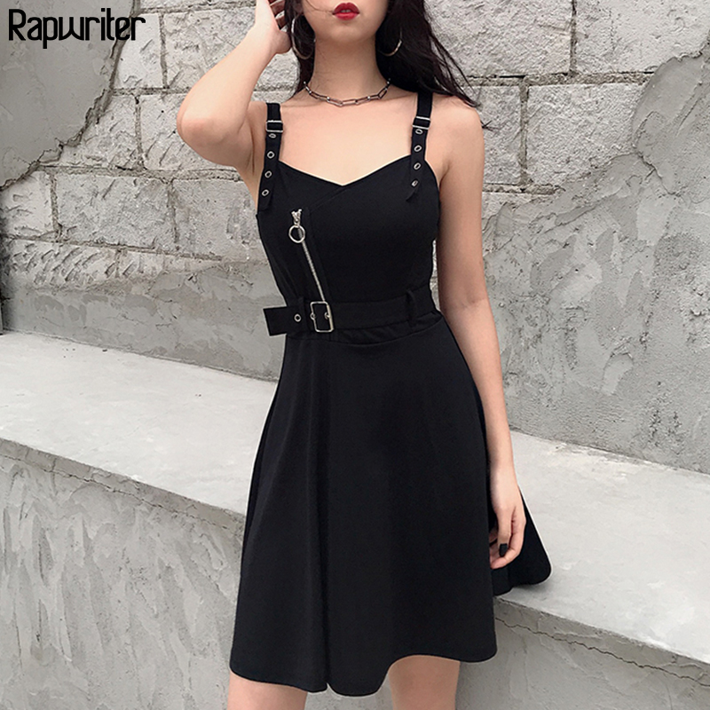 Rapwriter Gothic Sleeveless Zipper Summer Dress 2020 Sleeveless Black Party Belt Women Clothing Strap Dress Vestidos Backless