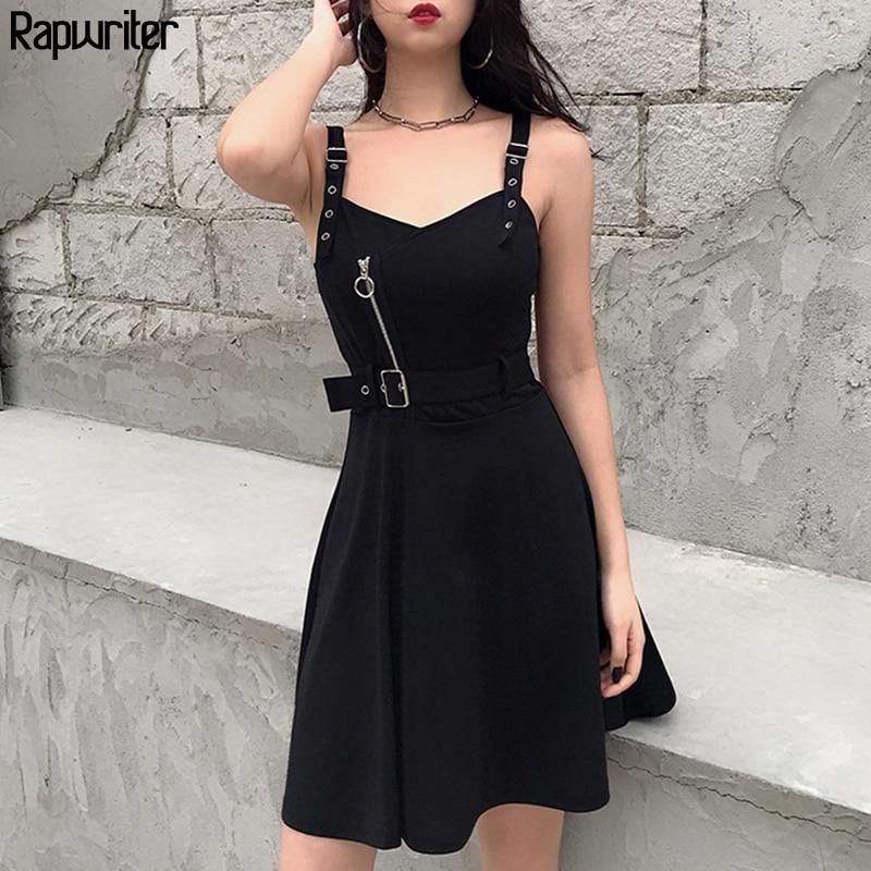 Rapwriter Gothic Sleeveless Zipper Summer Dress 2020 Sleeveless Black Party Belt Women Clothing Strap Dress Vestidos Backless