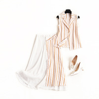 2 piece outfits for women Striped tank tops with sleeveless+ Appliques Asymmetry skirts to Mid Calf women sets clothes