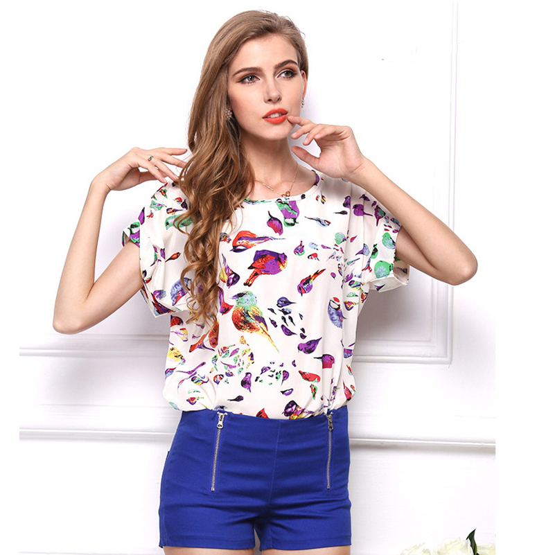 Striped Tops Blouses Print Floral Fashion Short Sleeve Causal 2019 O Neck Chiffon Maxi Summer Women Shirts Size Female Tees Styl