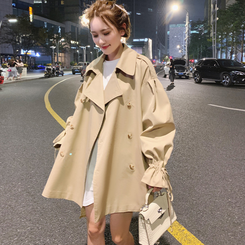 Khaki Short Windbreaker Overcoat Loose Coat Woman Trench Coat A Line Female Moda Mujer Overcoat Cloak Sashes Vintage Manteau