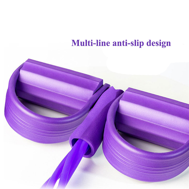 Best! Two-leg Resistance Bands 4 Tubes Fitness Yoga Latex Pedal Exerciser Sit- Up Yoga Fitness Gear Leg Pull Pedal Exerciser