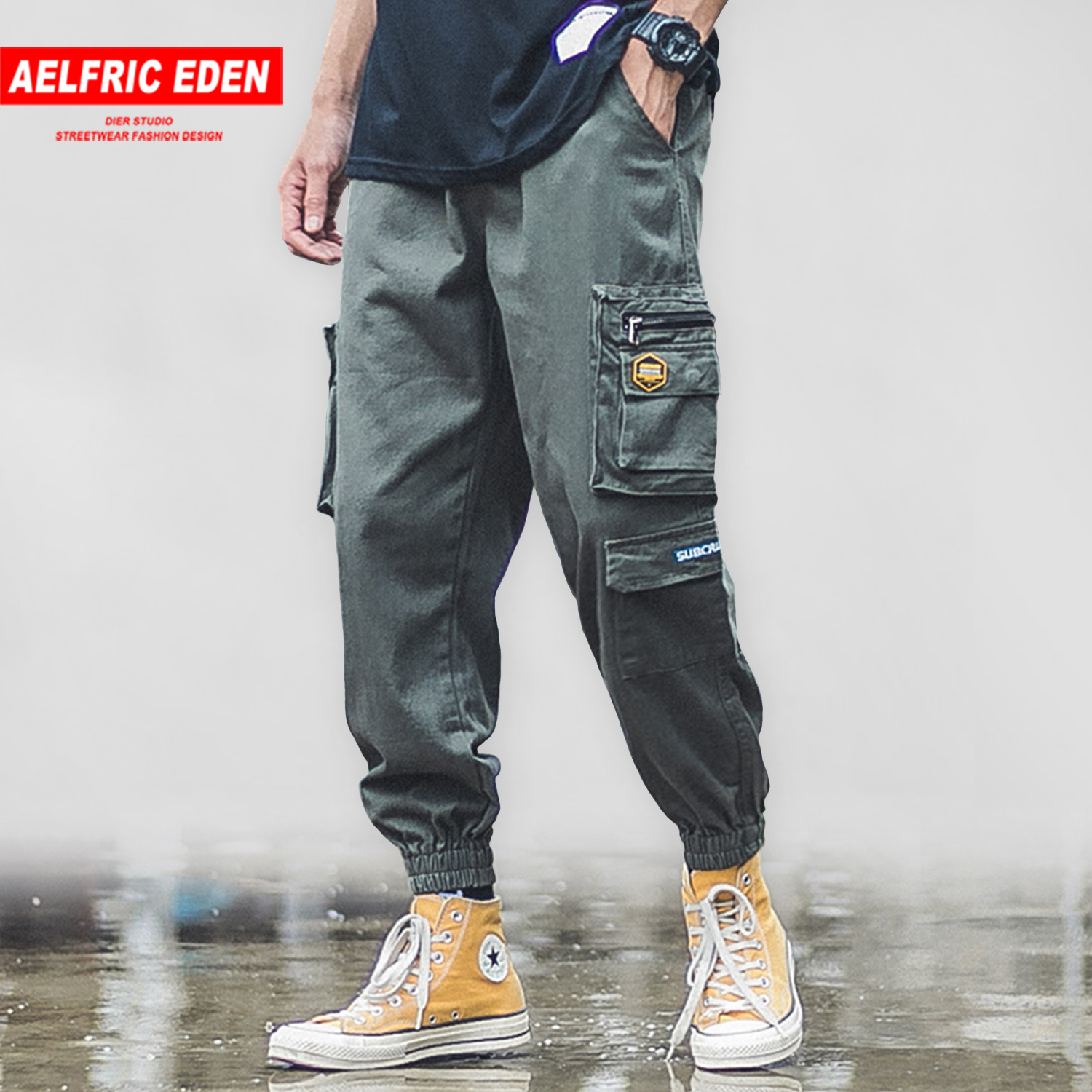 Aelfric Eden Streetwear Cargo Pants Mens Patchwork Multi Pockets 2020 Hip Hop Harajuku Joggers Casual Harem Trousers Male Bottom