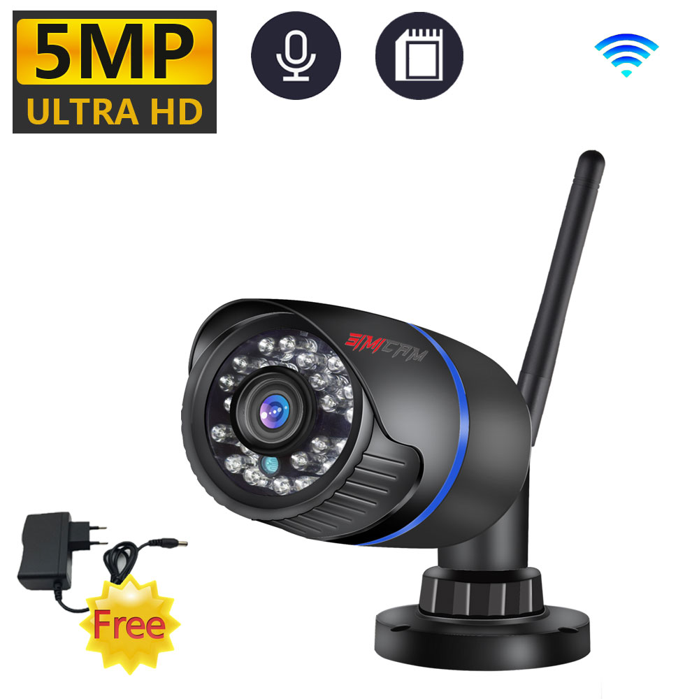 simicam 5MP 2KHD smart Wifi IP Camera Outdoor ONVIF P2P Audio CCTV With SD Card port Wireless ICSee Video Surveillance with wifi