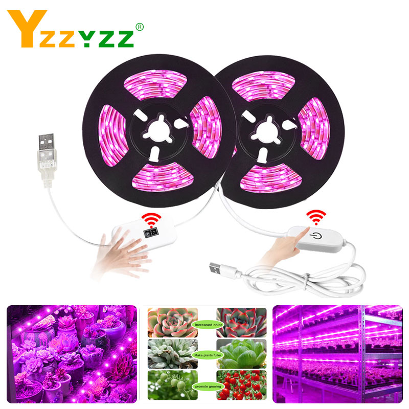 5V USB Hand Sweep Touch Smart Sensor LED Grow Light Full Spectrum 2835SMD LED Phyto Lamp For Plant Flowers Greenhouse Hydroponic
