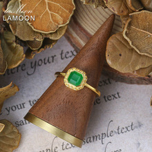 LAMOON Luxury Vintage Dyed Green Jade Female Ring 925 Silver 14K Gold Plated Fine Jewelry Mother Gift LMRI132