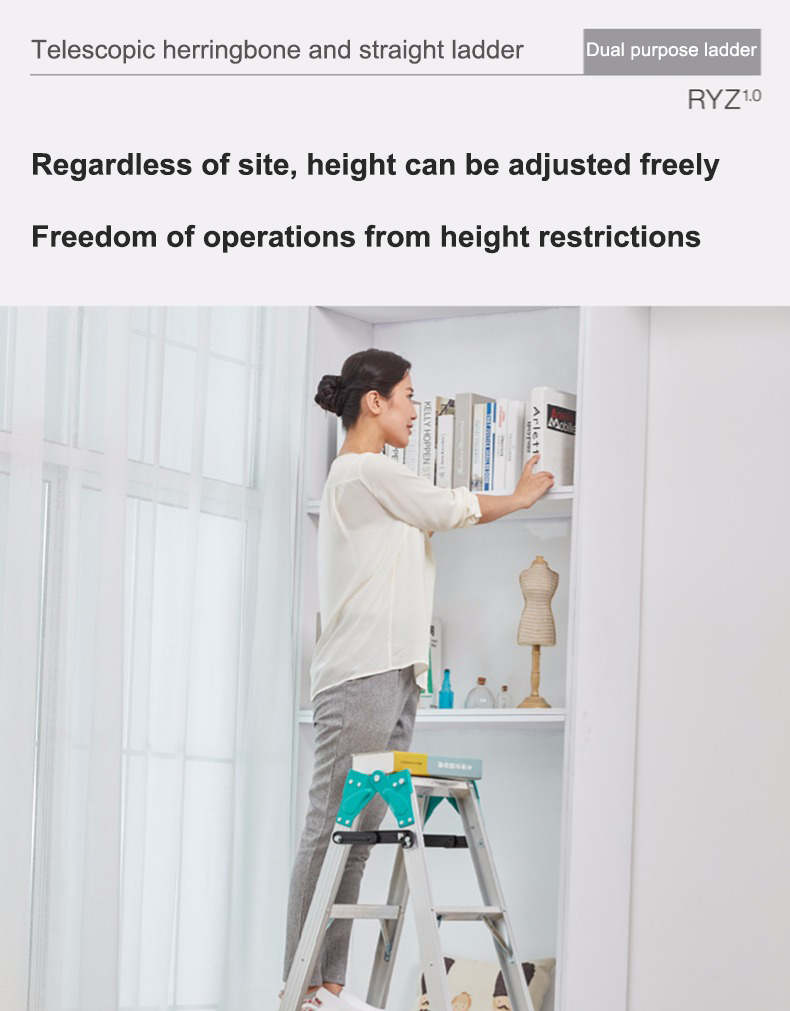escada de liga alumínio portátil multifuncional altura retrátil