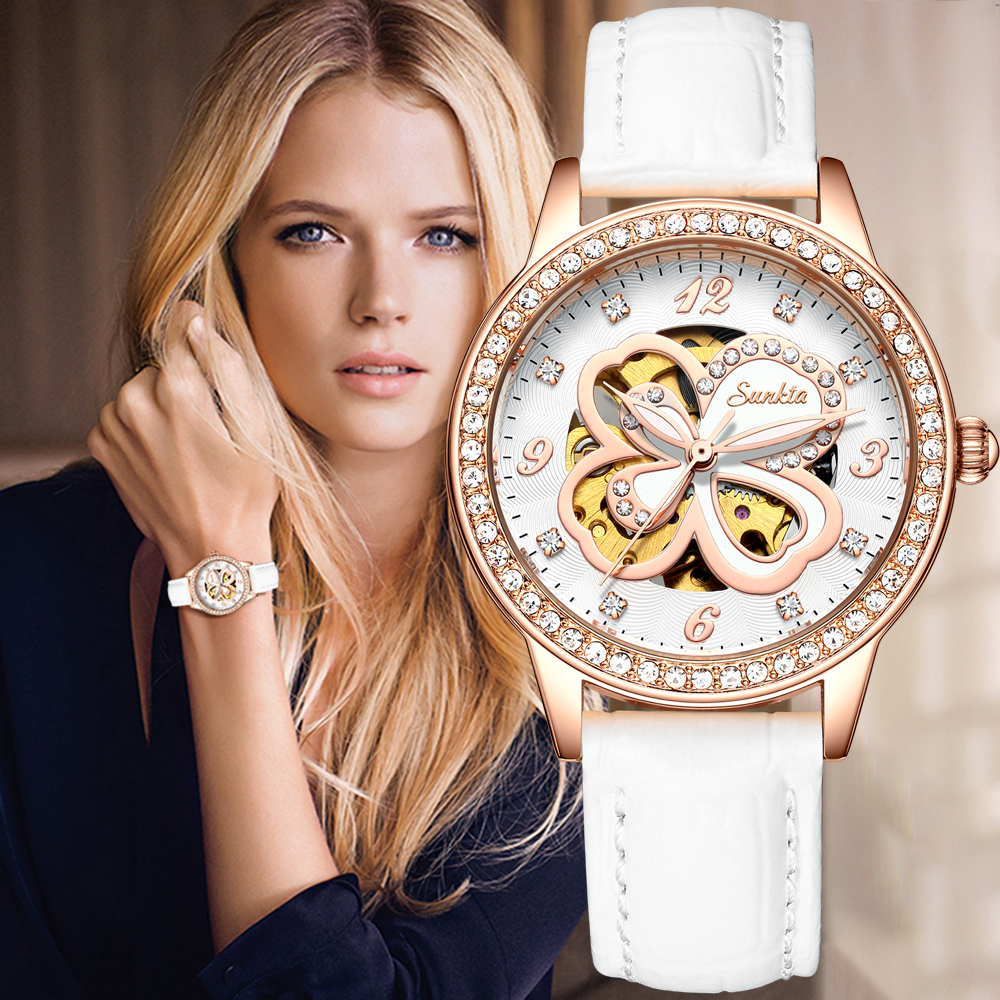 Relogios Feminino Women Watch Diamond Waterproof Automatic Watches For Women Leather Machinery Montre Automatique Ladies Watches