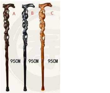 free shipping  Monolith Carving Peach Mahogany Hand Crutch 100% Whold Real Sold Wood Old Men Walking Stick The Staff for Grandpa