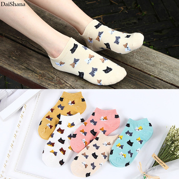 5Pair /lot =10Pieces Summer Invisible Female Fashion Funny Socks Casual Cute Cartoon Cat Cake Short Cotton Ladies Dropship