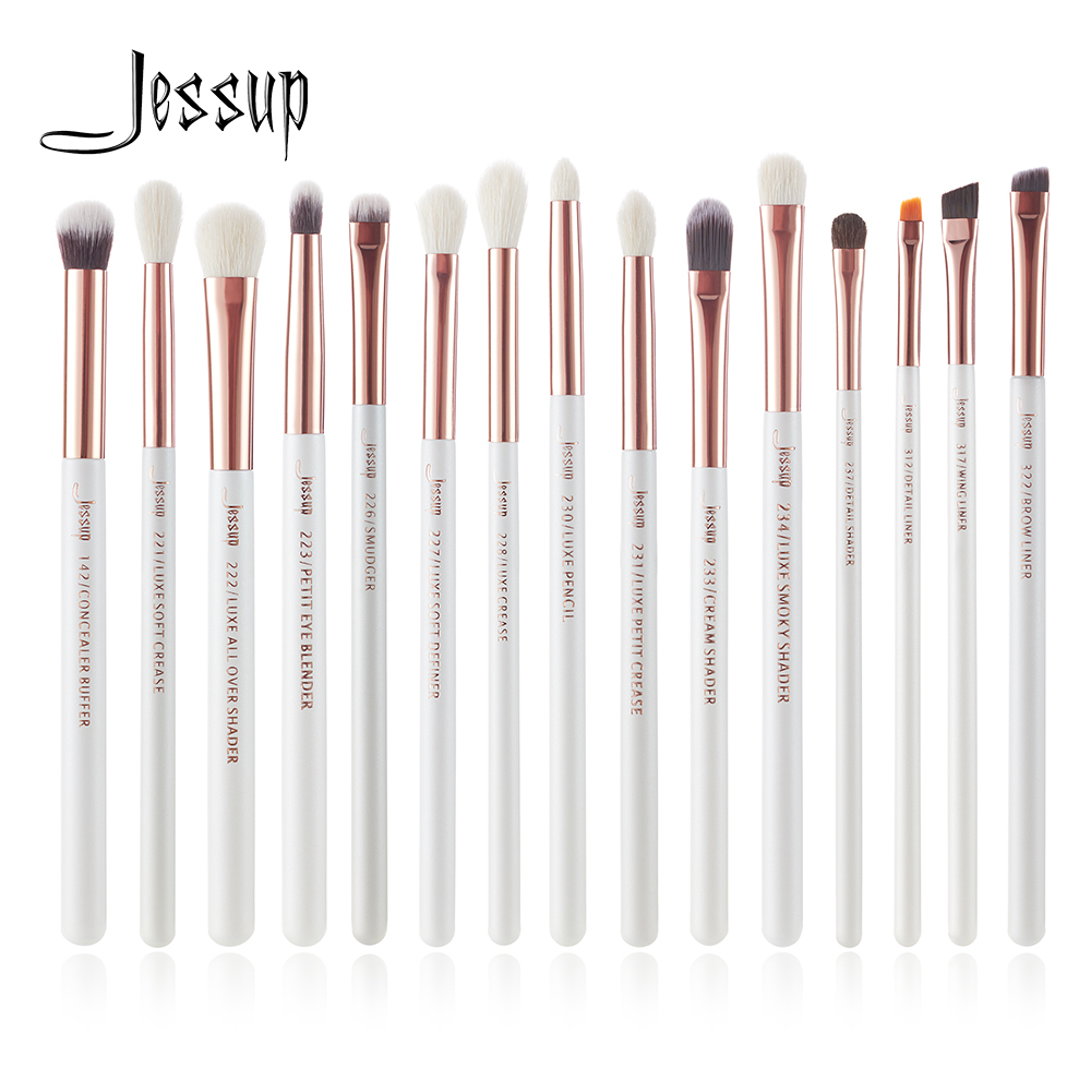 Jessup Pearl White/Rose Gold Professional Makeup Brushes Set Make up Brush Tools kit Eye Liner Shader natural synthetic hair-in Eye Shadow Applicator from Beauty & Health