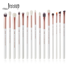 Jessup Brand White/Rose Gold Professional Makeup Brushes Set Make up Brush Tools kit Eye Liner Shader natural-synthetic hair jessup black silver professional makeup brushes set make up brush tools kit foundation powder blushes natural synthetic hair