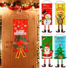 Huiran 2019 Christmas Snowman Elk Santa Claus Cloth Hanging Flag Merry Christmas Decorations For Home Xmas Ornaments Banners