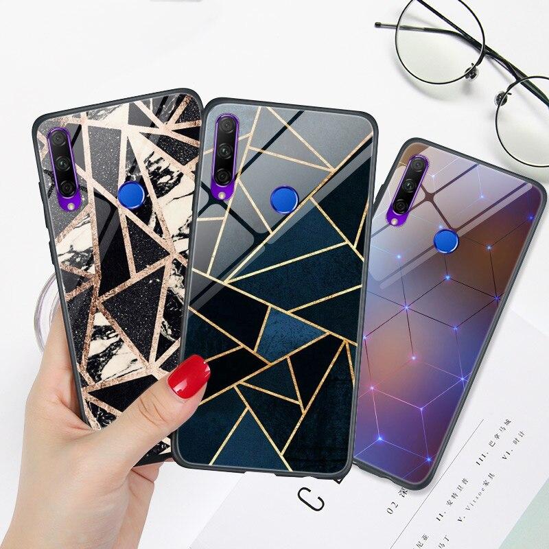 Galleria fotografica Geometrica di Marmo Del Telefono Della Copertura Posteriore Honor 9X Premium PRO Cina 9A 9C 9S Caso Lucido Brillante Del Respingente PER Huawei honor 9 Lite Capa