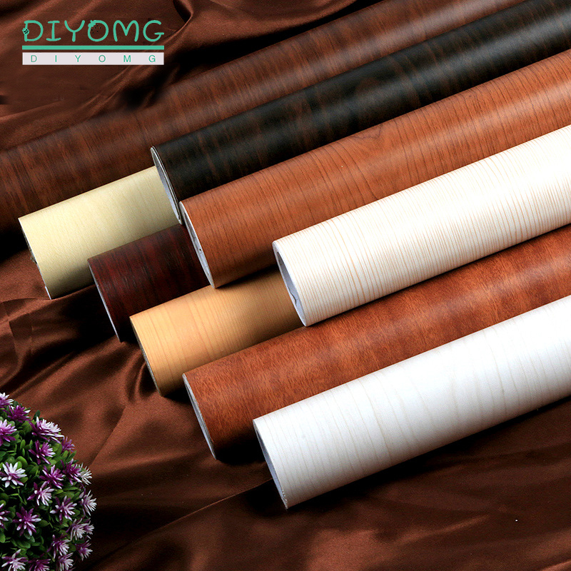 PVC Waterproof Wallpaper Self Adhesive Wood Grain Wall Stickers Roll Furniture Desktop Wardrobe Cabinet Door Contact Paper Decor