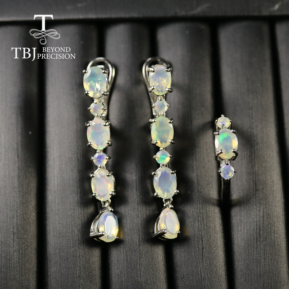 2020  Classic Real Ethiopia Opal Jewelry Set Long Earring Natural Opal Clasp Earring Ring 925 Sterling Silver Fine Jewelry Tbj