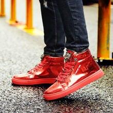 Мужские блестящие туфли красные высокие на платформе лето 2020