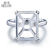 HELON 14x11mm cojín corte sólido 14K oro blanco configuración solitario moda boda joyería fina Semi montaje anillo de las mujeres