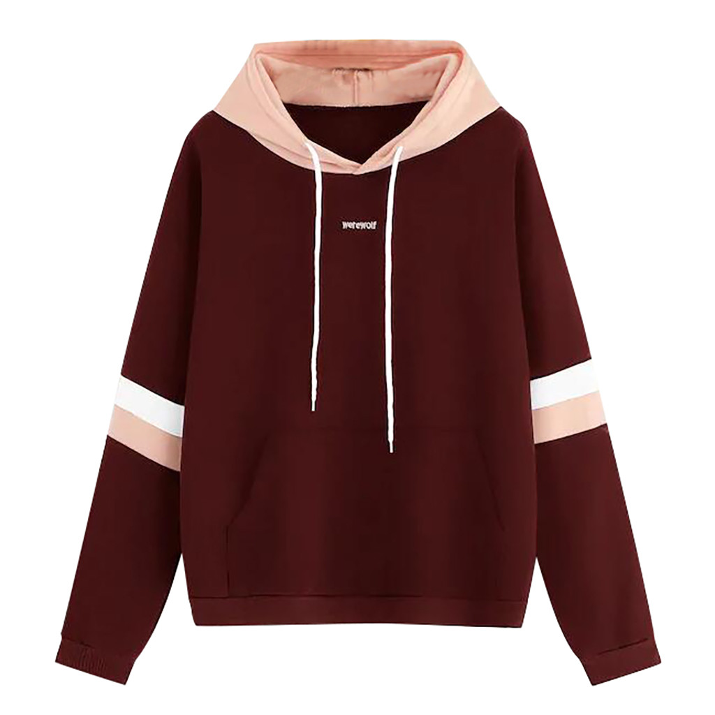 JAYCOSIN Women Letter Print Stitching Sweatshirt Long Sleeve Hooded Drawstring Striped Sweatshirt Autumn Winter Daily Sports