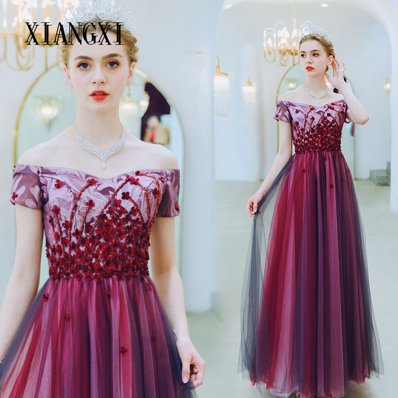 Burgundy Evening Dress A-Line Off The Shoulder 3D Flower Evening Dresses Long 2020 Prom Dress Party Dresses Robe de soiree