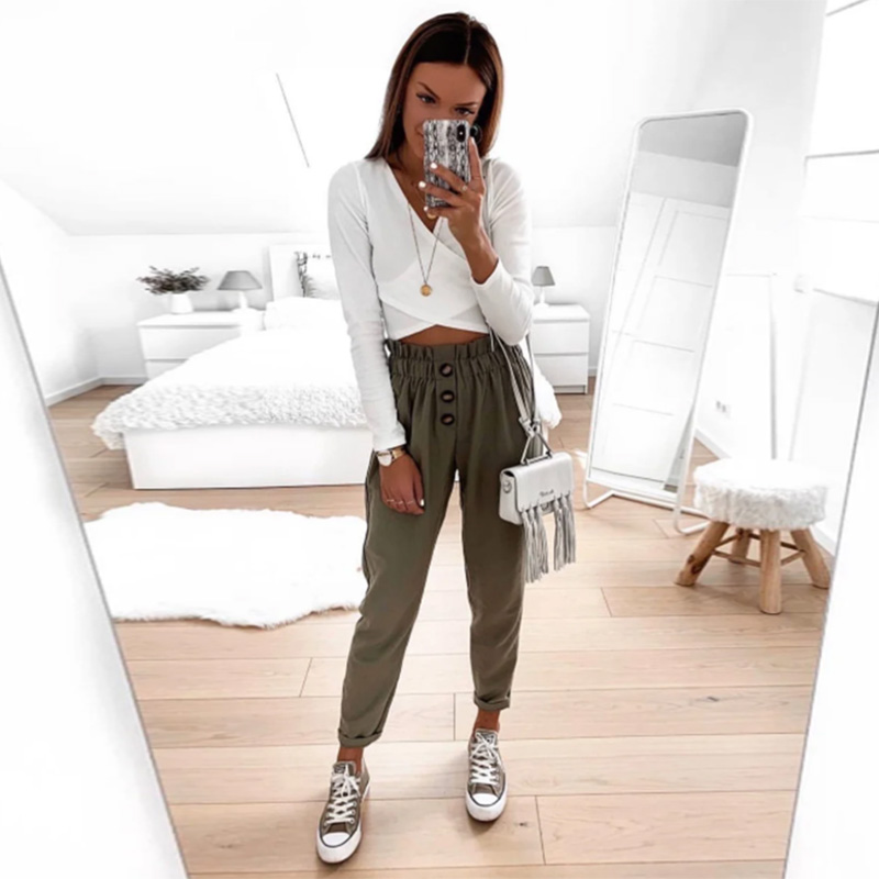 Shyloli Button Casual Waist Belt Ankle-Length Trousers Women Bottoms Autumn Elastic Waist Loose Office Ladies Tapered Long Pants